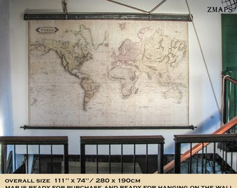 High end pull down world maps on cotton canvas and more by zmaps magnificent huge map world 1800 111 x 74 280 gumiabroncs Images