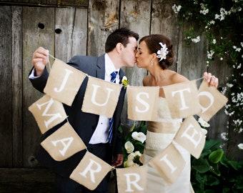 Custom Just Married Burlap Banner