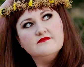 Sunflower hair wreath Dried Flower Crown twine Woodland music festival Headwreath preserved gypsophila Wedding Accessories bridal party halo