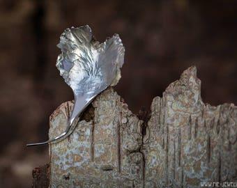 Silver forged brooch 'leaf'
