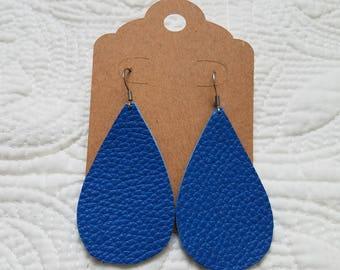 Genuine Leather Teardrop Earrings in Denim Blue