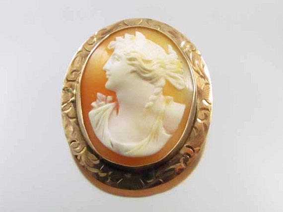 Antique Edwardian 10k rose gold  cameo pin brooch pendant signed Keller & Co