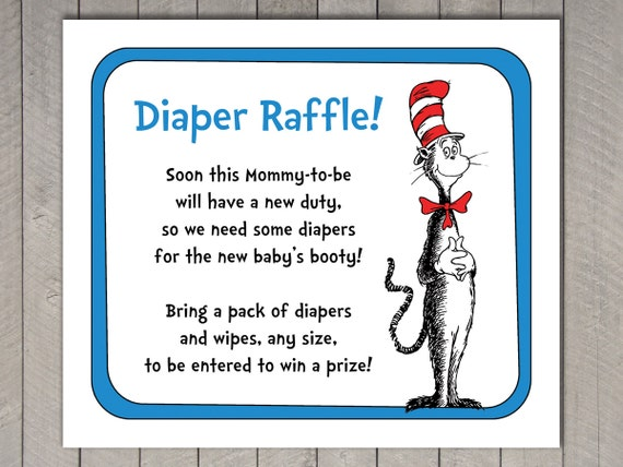 Dr. Seuss Baby Shower Diaper Raffle Invitation Insert And