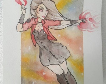 WANDA - The Red witch - original drawing A4 Watercolour