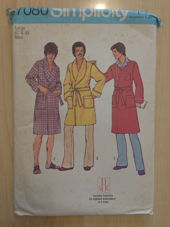 Simplicity Sewing Pattern 7080 Mens Robe in Two Lengths Size 42-44 Vintage 70s UNCUT Sale