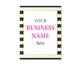 Editable pdf Black Stripe & Faux Gold Blank Sign, DIY Printable Sign, Business Party Event Signs Instant Download letter size, 8X10 trim