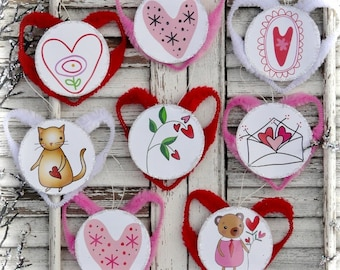 Valentine ornaments banners pattern - pdf Collage Sheet chenille heart stars stem illustrations art artwork ornies