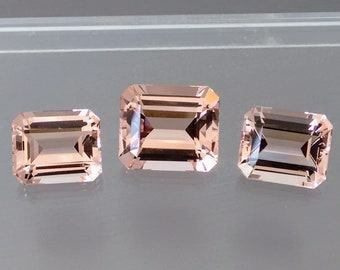 Natural Morganite 6x4mm, 7x5mm,and 6x8mm Faceted Cut Octagon Calibrated Top Quality Peach Color Loose Gemstone Wholesale Lot