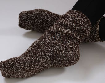 Crochet Wool Socks, Valentines day socks, wool socks women, brown socks, valentines day gift, warm socks, cozy socks, girls socks