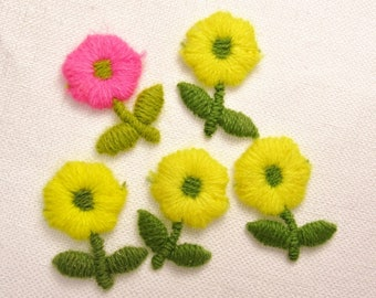 4 Yellows & A Pinkie: Puffy Sew-On Flower Appliques - Set of 5 Vintage New Old Stock Appliques