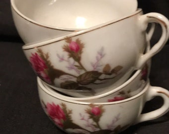 Vintage Cups 4 China Child's Dishes with Roses 1960's made in Japan