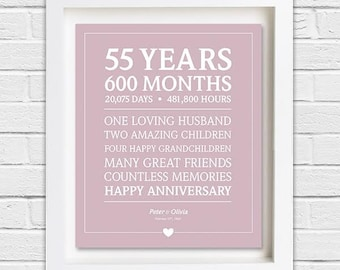 55th Anniversary Gift; Personalized Anniversary; Custom Anniversary Present; Digital Print; 55 Years; Wedding Anniversary