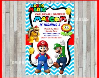 Mario Bros Invitation, Printable Mario Bros party invitation, Mario Bros Birthday invitation