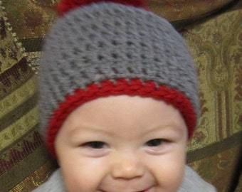 Red and Gray Pom Pom Hat, or CHOOSE Your Colors Cap, Made to Order Hat by Charlene, Team Colors Hat