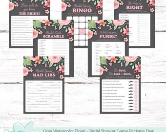 Grey Watercolor Floral Bridal Shower Game Package Deal, Seven Games, Bundle, Savings, Activity Set, Printable, Instant Download, Rustic,006A