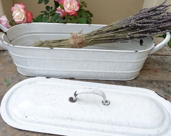 Vintage French Enamel Cooking Pot, Wine Chiller, Fish Poacher, 3 Piece French White Marble Enamelware Graniteware