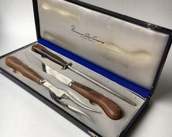 Kay Bojesen fork knife Universal Steel Company carving set stainless steel mid century vintage with box