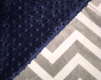 """Navy Blue and Gray and White Chevron Minky Baby Girl Boy Blanket 29""""x35"""" Baby Shower Gift"""