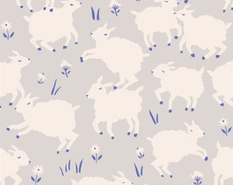 Organic Cotton Gender Neutral Little Lamb on Gray Background Homestead Collection Birch Fabrics Sold by HALF YARD