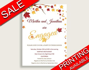Engagement Invitation Bridal Shower Engagement Invitation Fall Bridal Shower Engagement Invitation Bridal Shower Autumn Engagement YCZ2S
