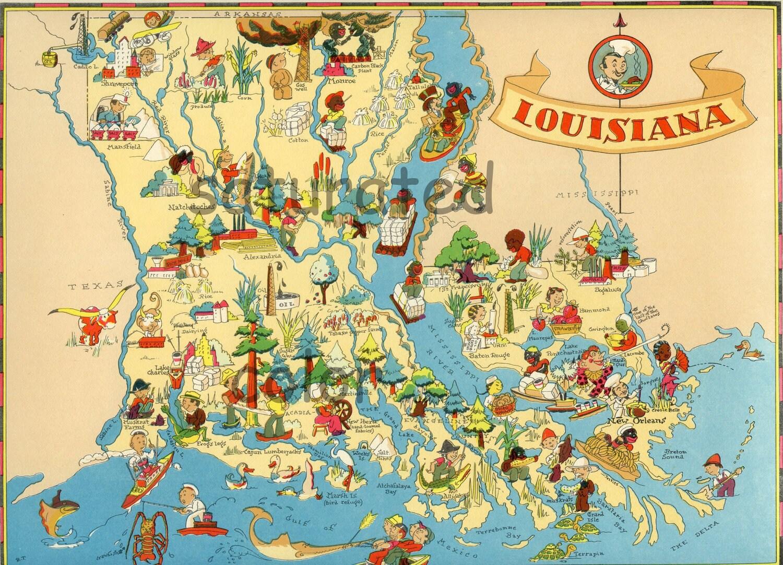 Louisiana Map ORIGINAL Vintage S Antique Picture Map - Louisiana map alexandria