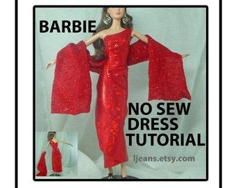 Barbie One Shoulder Wrap No Sew Dress Tutorial