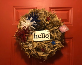 Hello FireWorks Burlap Wreath