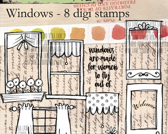 Windows - hand drawn digi stamps - 8 images in png and jpg files