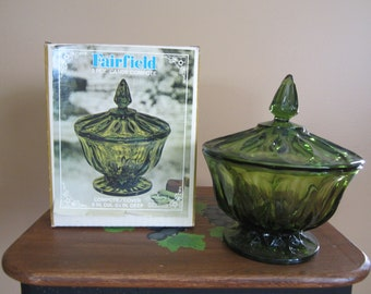 1 Vintage Anchor Hocking Fairfield Divided Glass Candy Compote with Lid Old New in Box