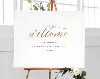 Welcome To Our Wedding Sign Template, Printable Welcome Sign, Wedding Welcome Sign, Welcome Sign Instant Download, Welcome Signs - KPC03_303