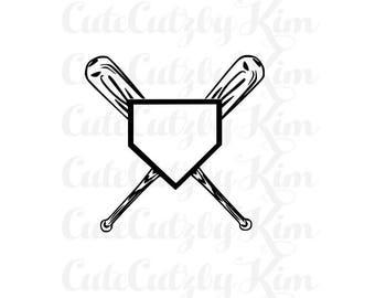 baseball svg, softball svg, Base and bat- baseball svg