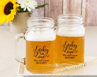 Personalized Wedding Mason Jar Mug