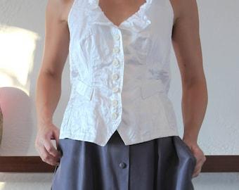 Vintage sugar white button down halter shirt top.size s