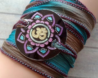 silk wrap bracelet- silk ribbon bracelet-boho-silk wrap-yoga-ruband de soie-seidenband-, Mandala #194