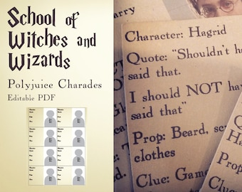 Harry Potter inspired School of witches and wizards - Polyjuice Charades Game- editable PDF - add your own text - INSTANT DOWNLOAD