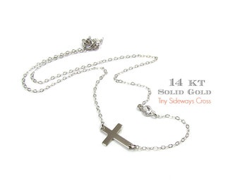 14KT SOLID GOLD Tiny Sideways Cross with Off Set White Topaz Gemstone Bezel Necklace in 14Kt Solid White or Yellow Gold