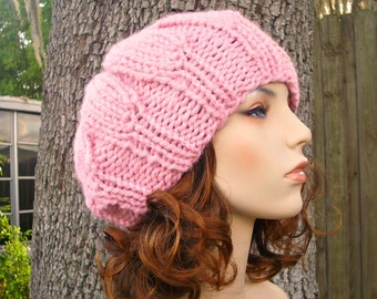 Knit Hat Pink Womens Hat - Urchin Beret Hat in Pink Knit Hat - Pink Hat Pink Beret Pink Beanie Womens Accessories