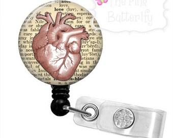 Cardiology Badge Reel-Vintage Anatomical Heart Badge-Nurse Badge Reel-Vintage Heart