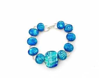 Summer Skies - Beautiful Fused Glass and Silver Bracelet