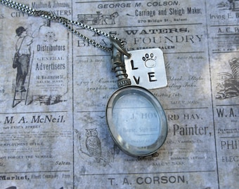 Oval locket / reversible locket / 2 sided locket / hand stamped locket / LOVE locket / paw print / glass photo locket / pet locket