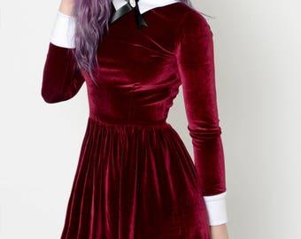 Burgundy Velvet Addams Dress