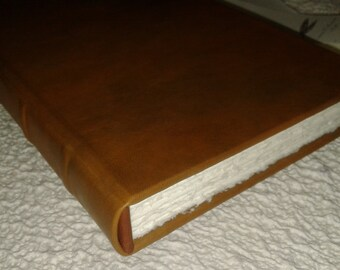 Italian handmade leather journal - Amalfi paper, classic binding, genuine leather
