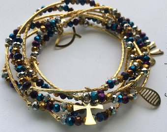 Multicolor metallic crystal bead bracelets with gold plated charms - Semanario pulseras cristal multicolor metalicas con dijes chapa de oro