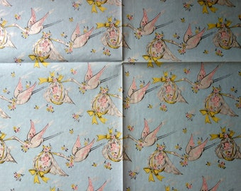 Vintage Gift Wrap, Partial Sheet of 1950s Baby Shower Wrapping Paper in Pale Blue with Storks Flying with Babies in Yellow and White Baskets