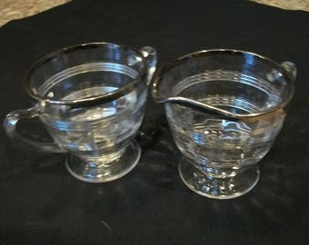 Clear Glass Vintage Sugar and Creamer with Silver trim