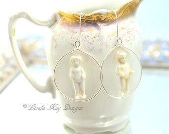 Frozen Charlotte Doll Earrings Tiny Charlotte Doll Hoop Resin Sterling Earrings Lorelie Kay Original
