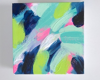 "Original Gouache and Acrylic Abstract Painting on Canvas ""Brushstrokes"""
