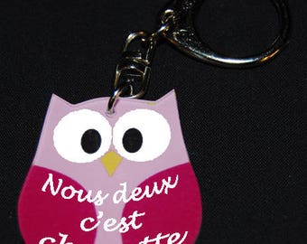 """Pink OWL key chain with message """"We're nice"""""""
