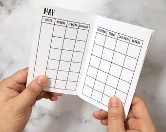 Printed - Monthly TN INSERTS - Planner inserts for pocket and personal size travellers notebooks TN