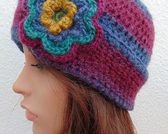 Funky Striped Beanie Flower Hat, Crochet Hat,  Wool Blend Crochet Hat Handmade in Ireland